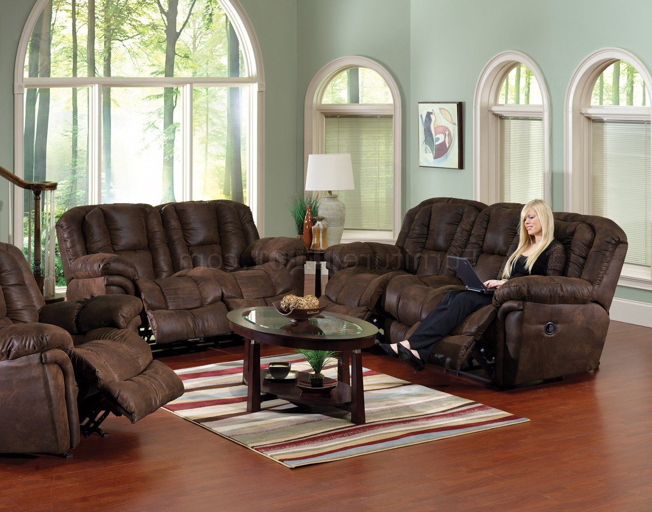 Sofa Loveseat And Chairs Intended For Famous Chocolate Faux Leather Contour Reclining Sofa & Loveseat Set (View 13 of 20)