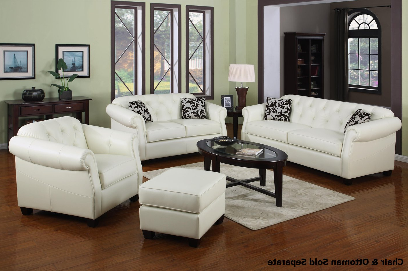 Sofa Loveseat And Chairs Regarding Trendy Kristyna White Leather Sofa And Loveseat Set – Steal A Sofa (Gallery 17 of 20)