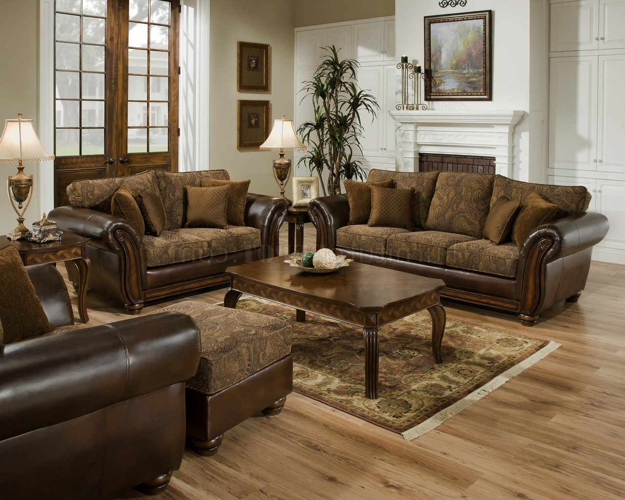 Sofa Loveseat And Chairs Within Newest Vintage Chenille Sofa, Loveseat & Chaise Set W/bonded Leather (View 8 of 20)