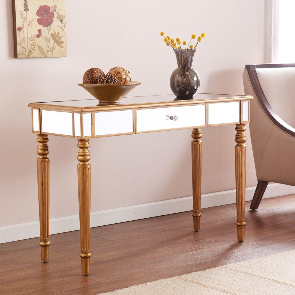 Sofa Table Chairs Pertaining To 2018 Southern Enterprises Fred Champagne Gold Mirrored Console Table (Gallery 12 of 20)