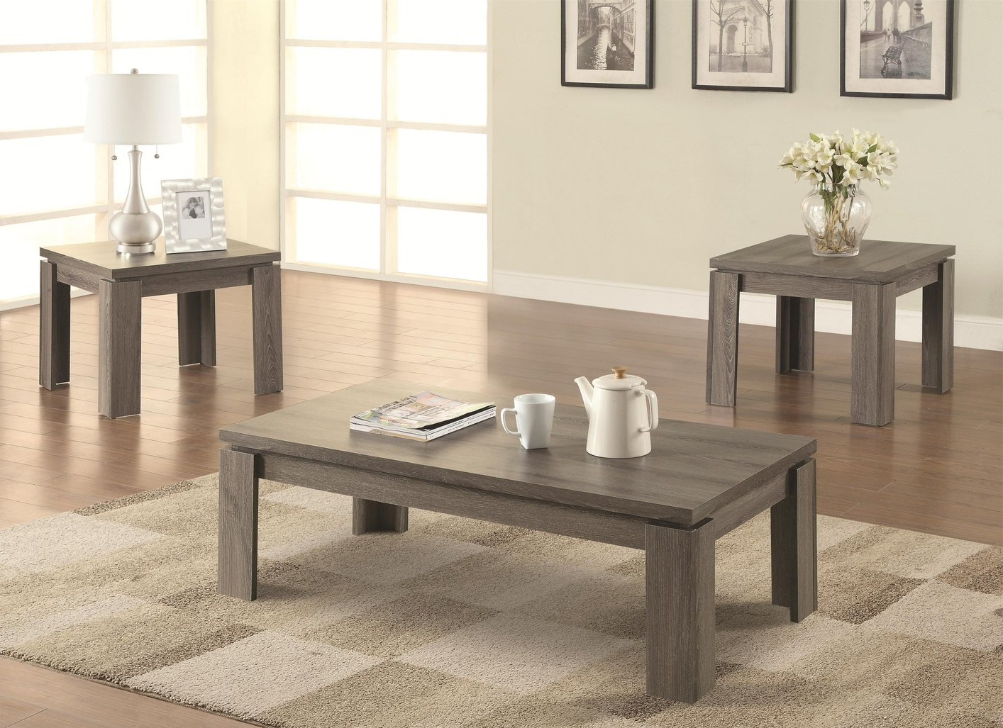 Sofa Table Chairs Within Favorite Grey Wood Coffee Table Set – Steal A Sofa Furniture Outlet Los (Gallery 5 of 20)