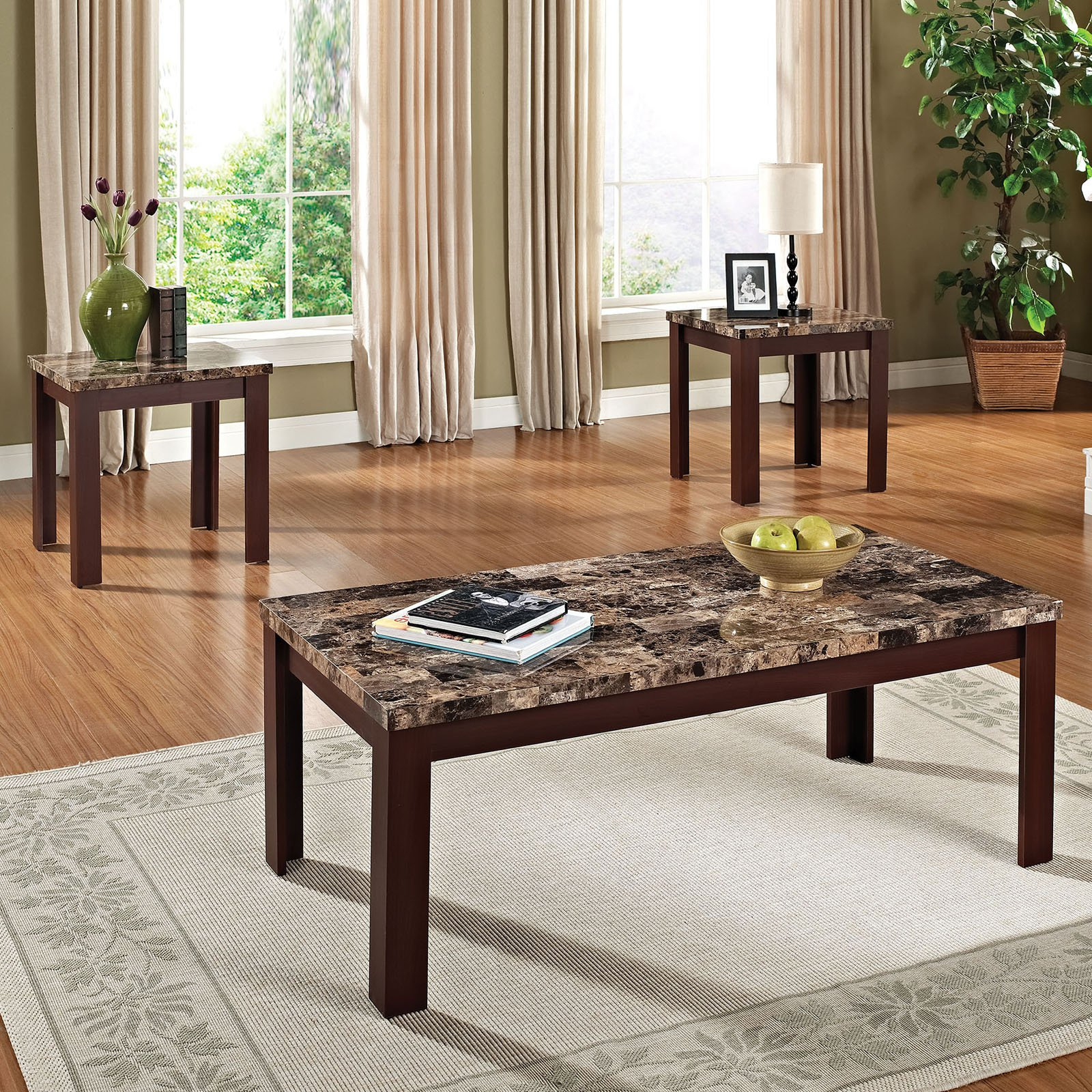 Sofa Table With Chairs For Popular Faux Marble 3 Piece Coffee And End Table Set, Multiple Colors (View 14 of 20)