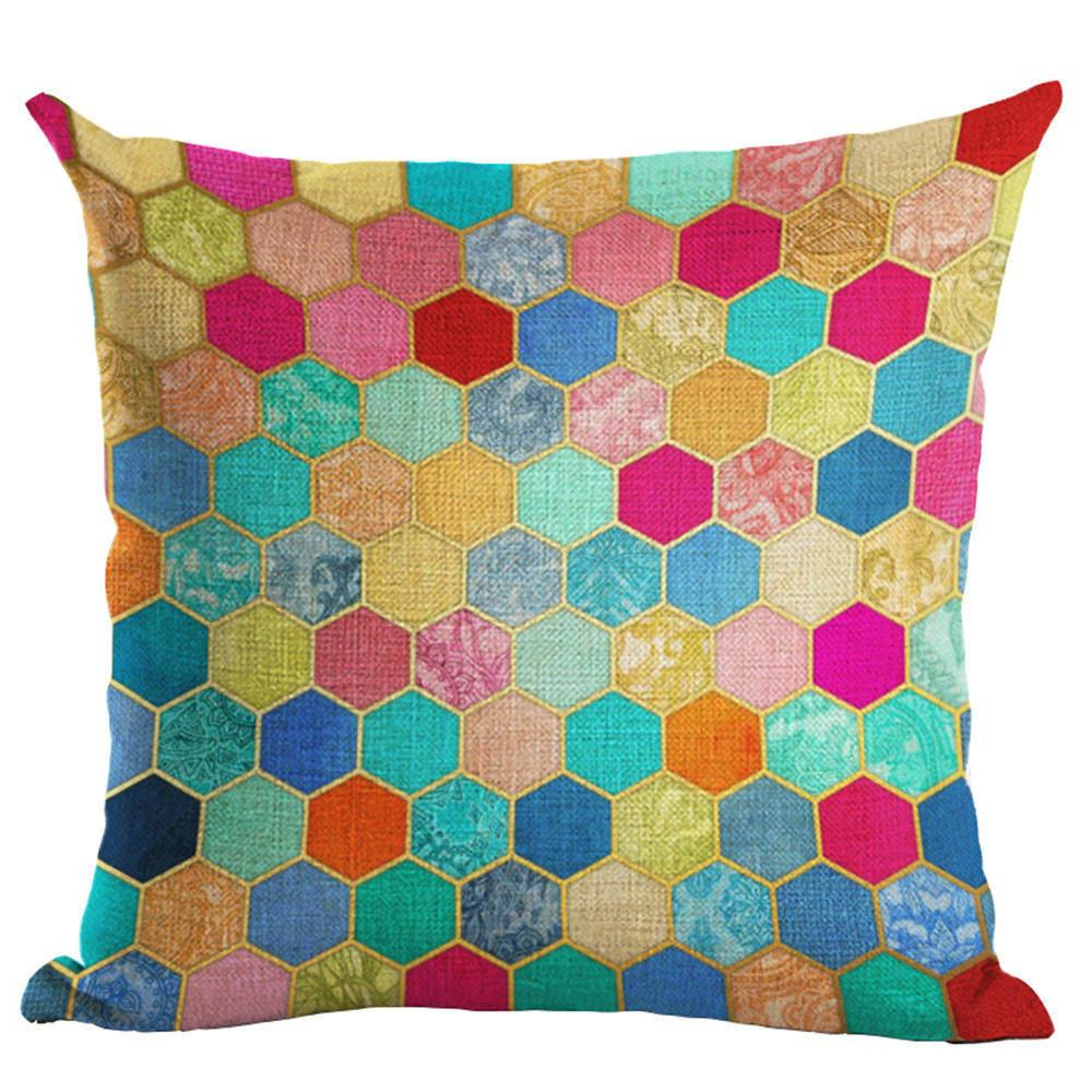 Throw Pillow Mosaic Style Cushion Cotton Linen Mosaics Colorful With Regard To Fashionable Cotton Throws For Sofas And Chairs (View 20 of 20)