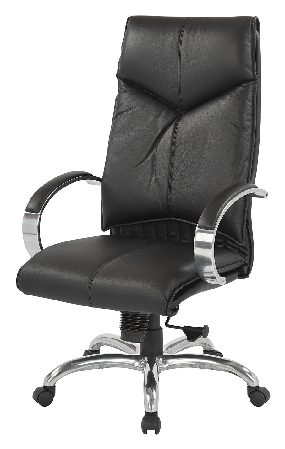Top Grain Black Leather High Back Swivel Chair With Chrome Base Intended For Favorite Leather Black Swivel Chairs (View 10 of 20)