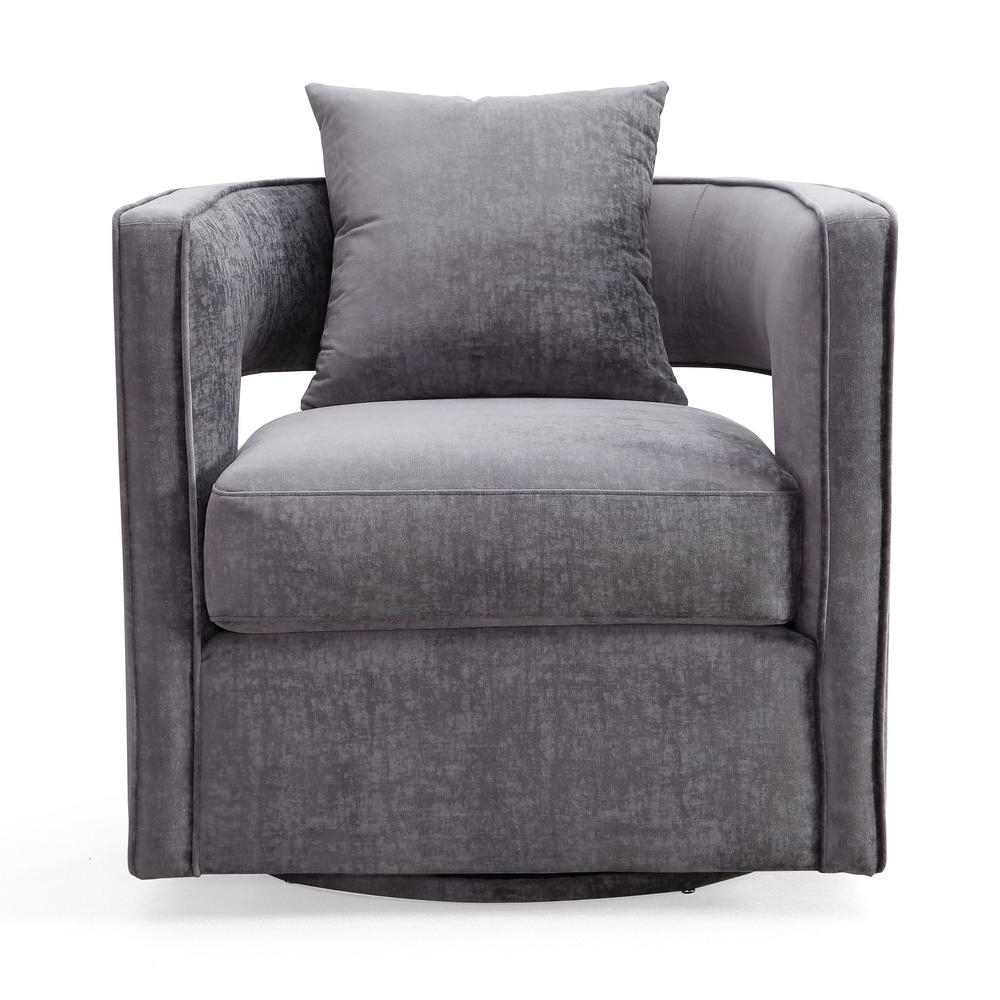 Tov Furniture Kennedy Grey And Velvet Swivel Chair Tov L6125 – The For 2019 Grey Swivel Chairs (Gallery 1 of 20)