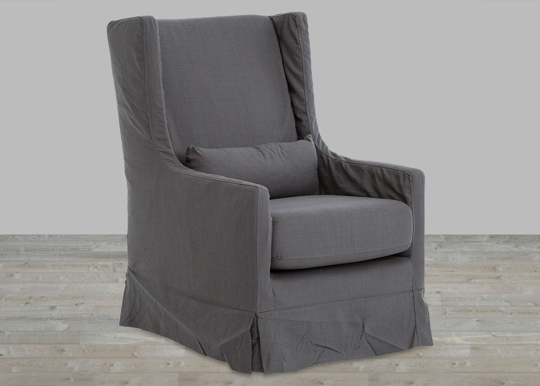 Trendy Charcoal Swivel Chairs Throughout Finn Charcoal Swivel Wing Chair (View 3 of 20)
