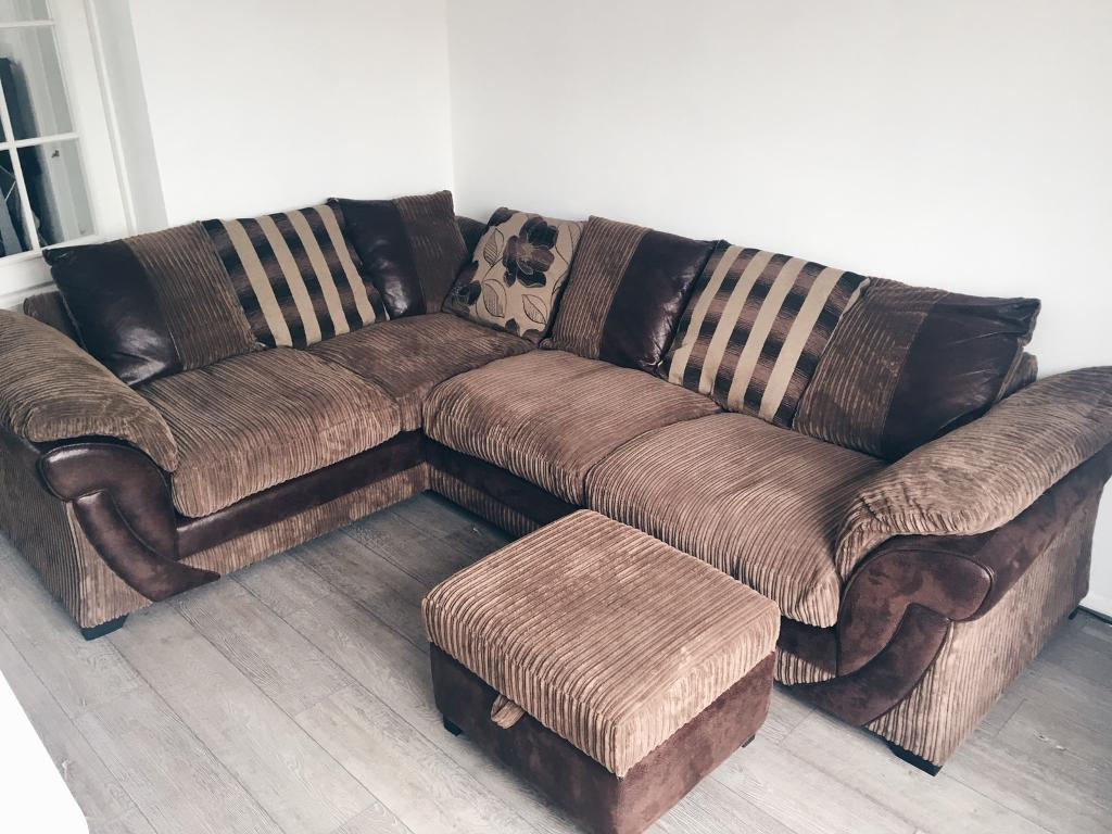 Trendy Corner Sofa And Swivel Chairs In Brown Corner Sofa, Swivel Chair And Footstool (View 16 of 20)