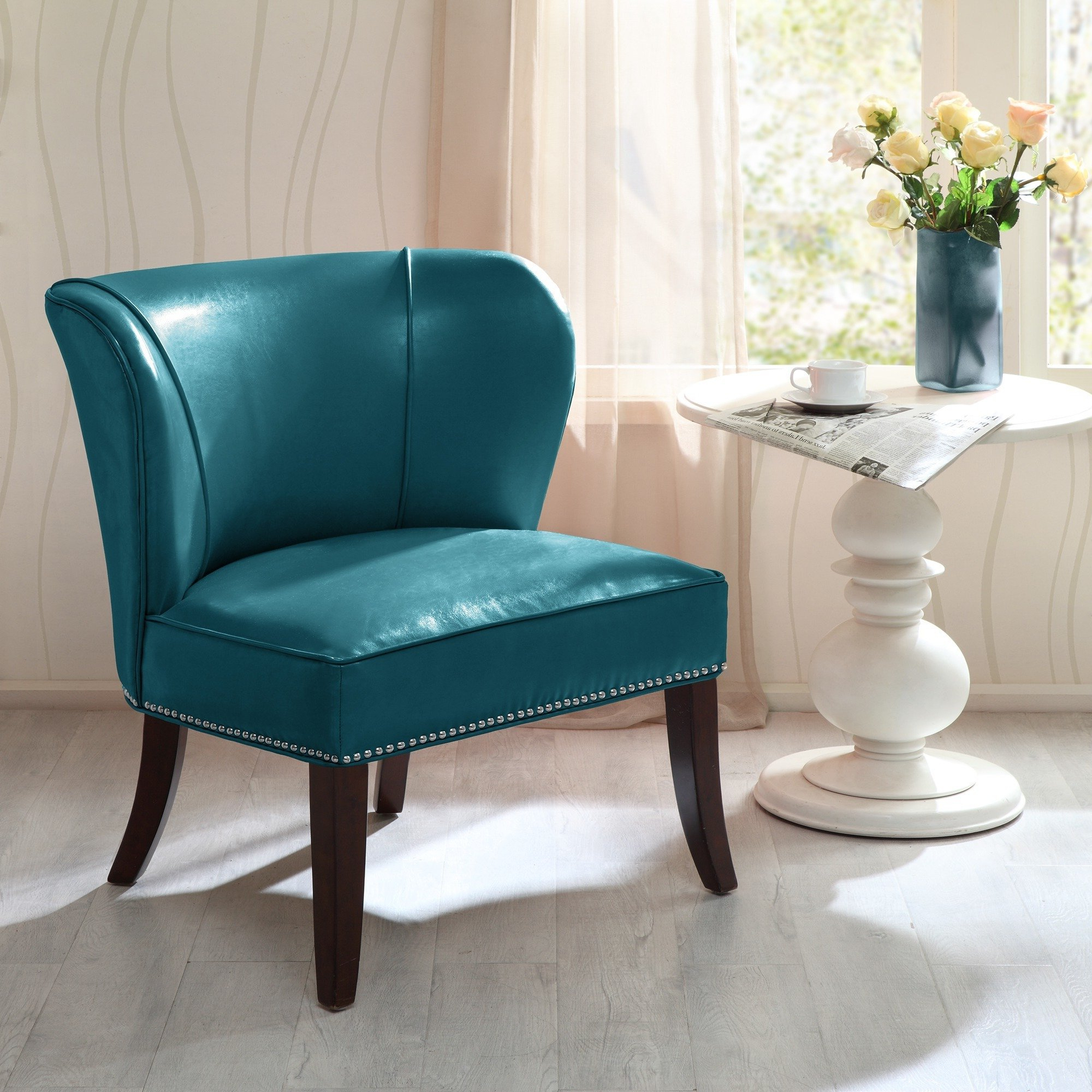 Trendy Sheldon Oversized Sofa Chairs Throughout Shop Madison Park Sheldon Blue Concave Back Armless Chair – Free (View 11 of 20)