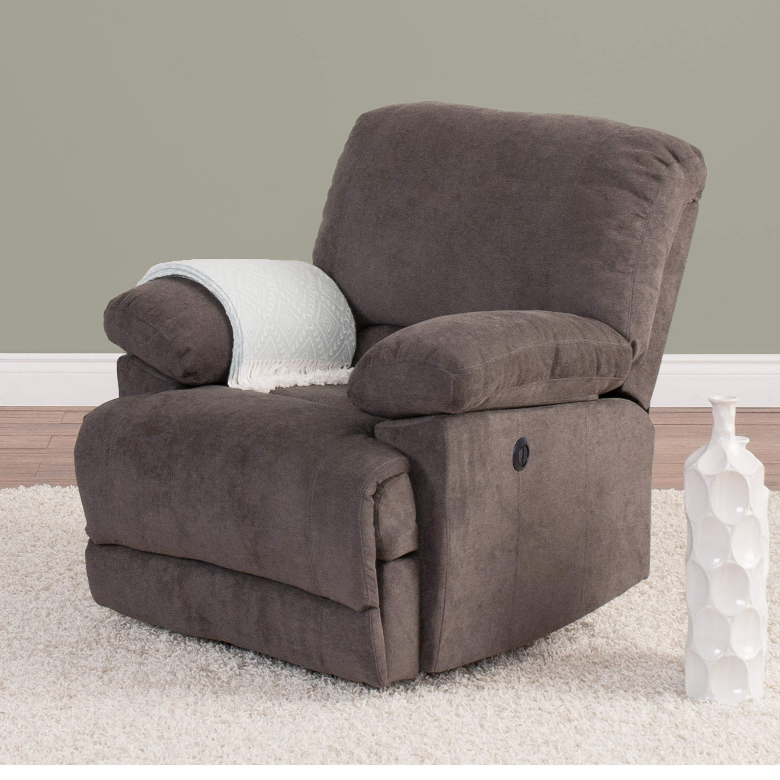 Trendy Shop Chenille Fabric Power Recliner With Usb Port – Free Shipping Inside Gannon Linen Power Swivel Recliners (View 12 of 20)