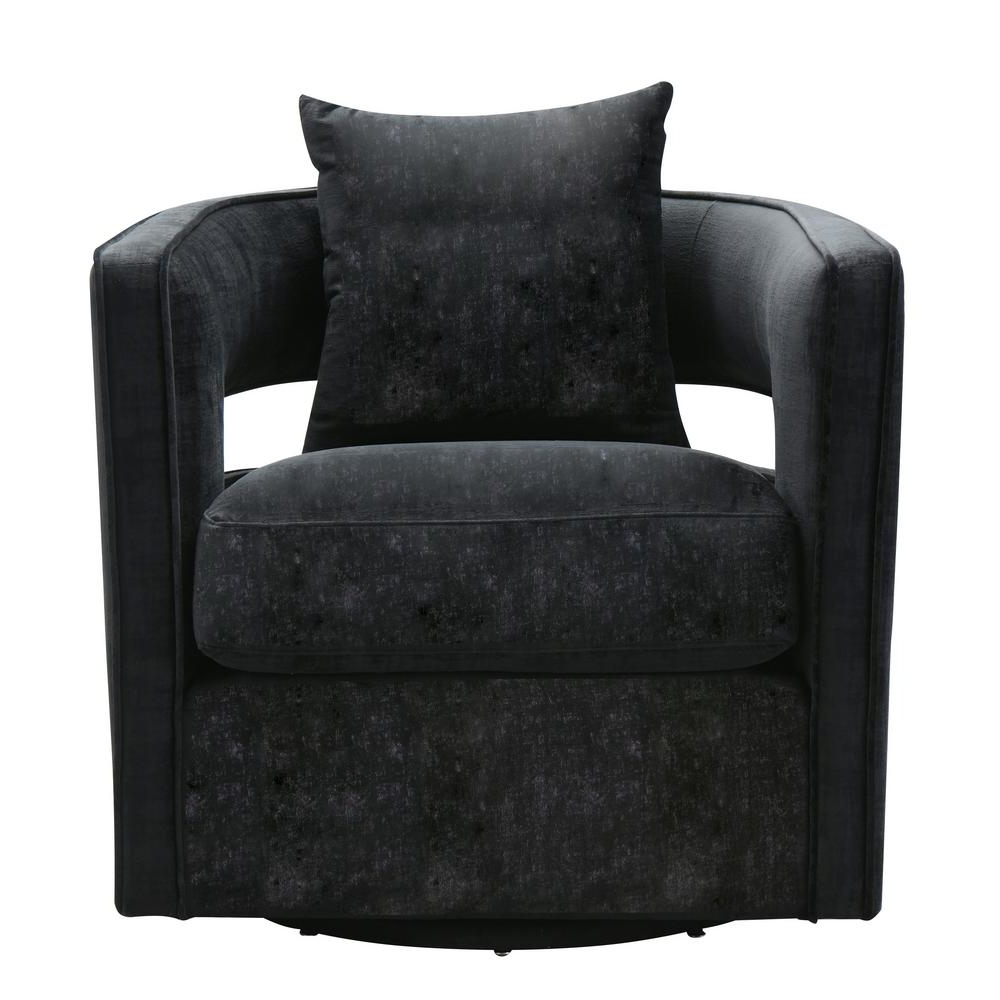 Trendy Tov Furniture Kennedy Black Swivel Chair Tov L6145 – The Home Depot With Leather Black Swivel Chairs (View 14 of 20)