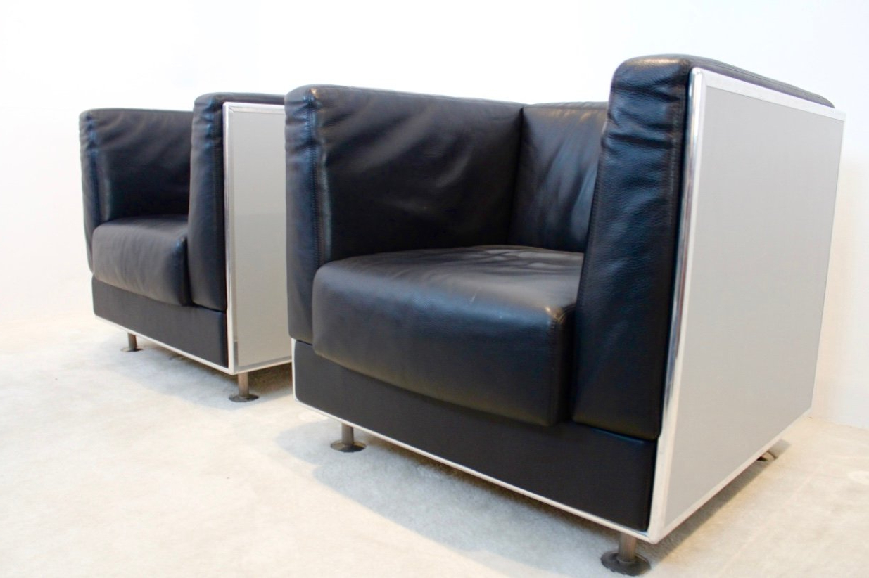 Unique Matteo Grassi Soft Leather Arm Chairs In Aluminium Shell Regarding Fashionable Matteo Arm Sofa Chairs (View 19 of 20)