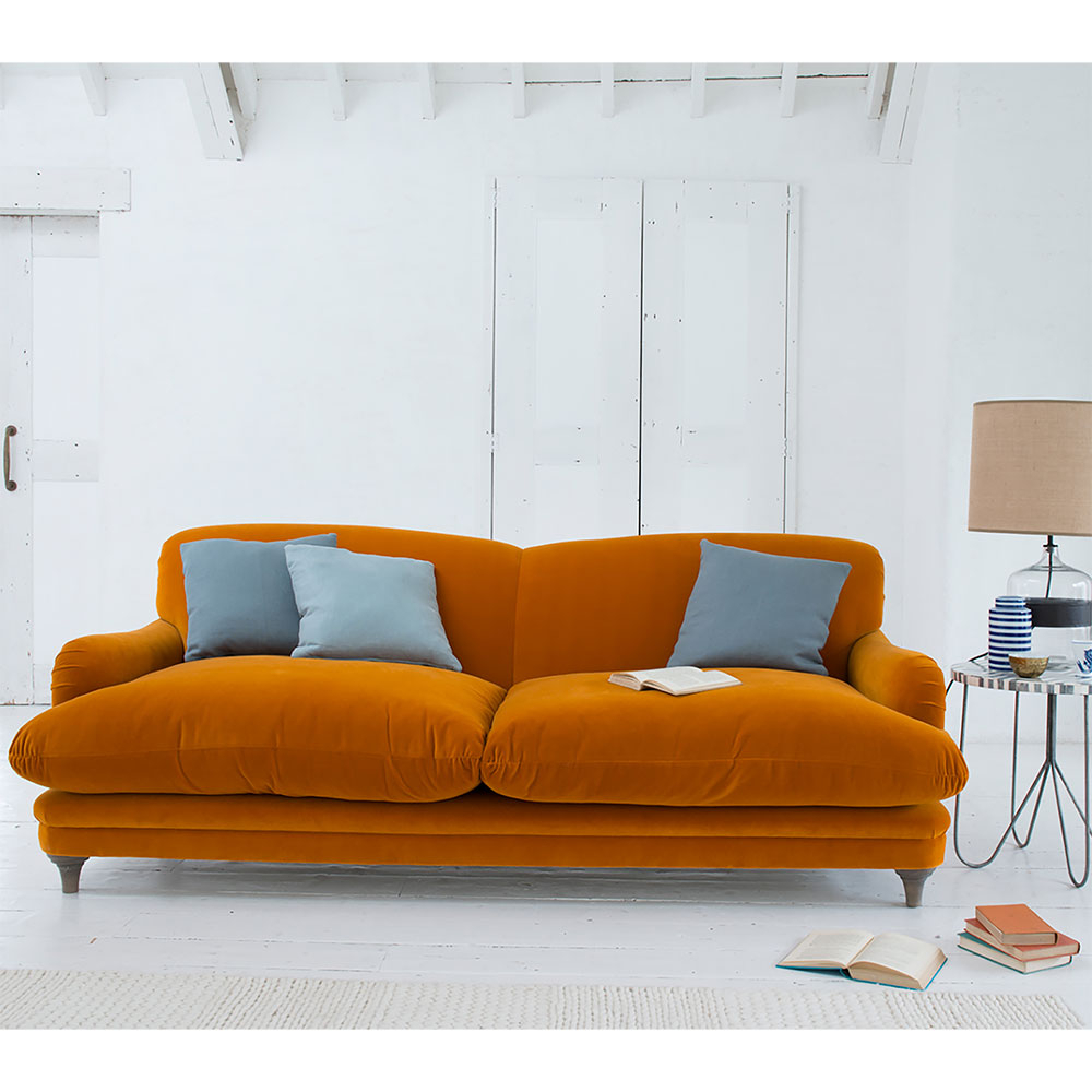 Velvet Sofas Our Best Home Fat Orange Sofa Tesco Pudding Furniture Within Most Current Orange Sofa Chairs (Gallery 14 of 20)