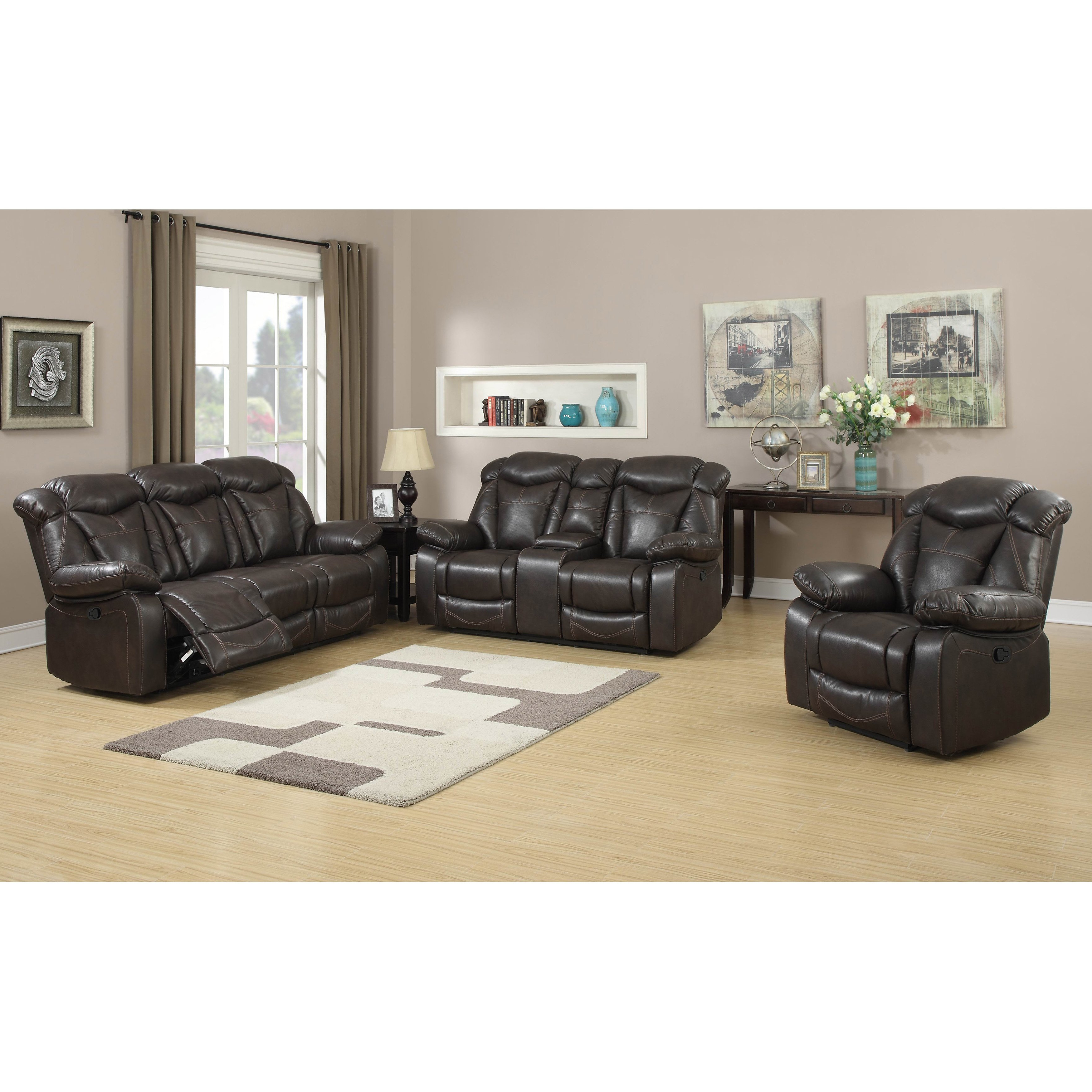 Walter Leather Sofa Chairs Regarding Most Popular Shop Walter Dark Brown Air Leather 3 Piece Living Room Gliding (View 16 of 20)