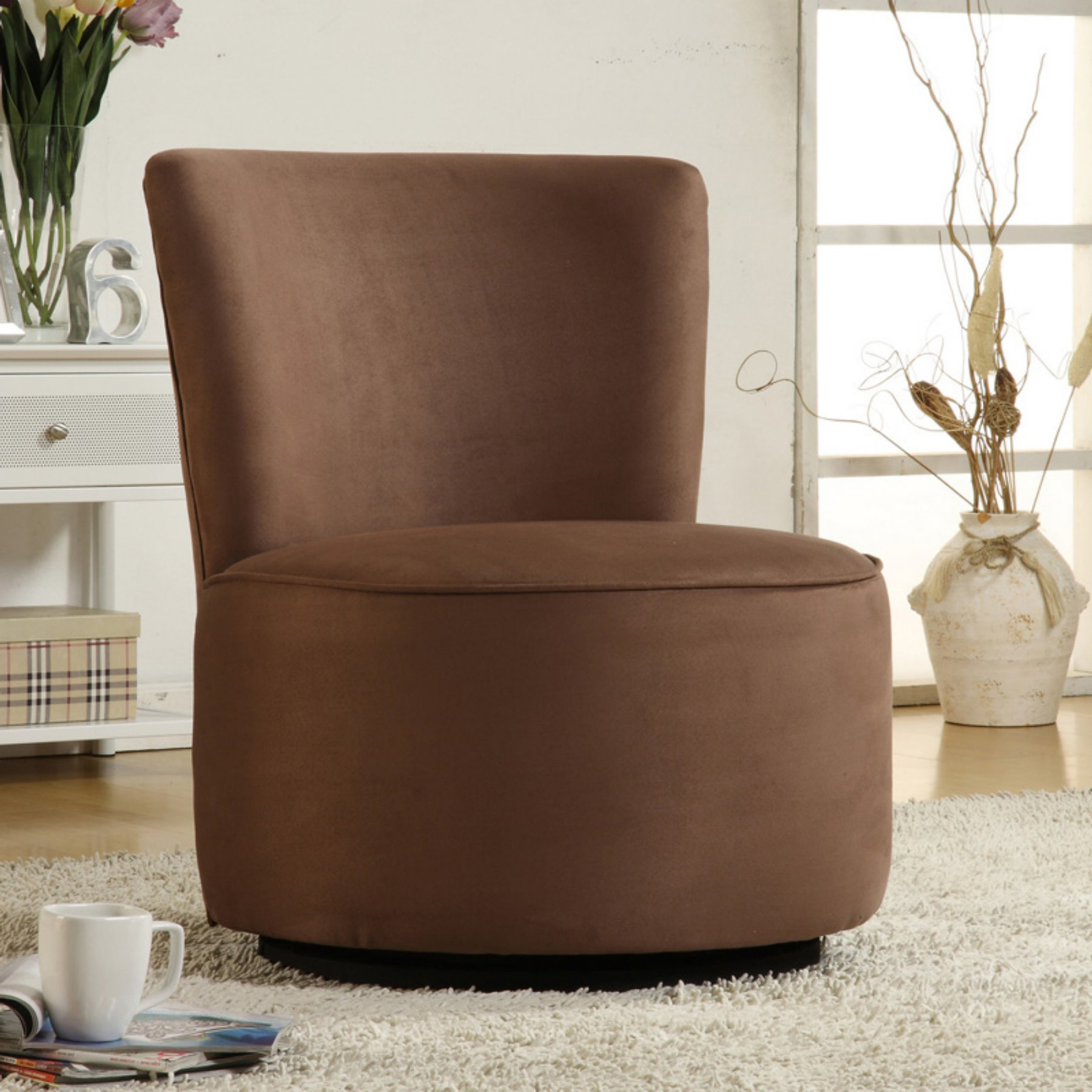 Well Known Aiden Round Fabric Swivel Chair  Brown – Walmart Regarding Aidan Ii Swivel Accent Chairs (Gallery 7 of 20)