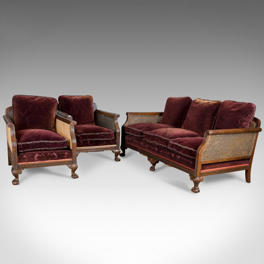 Well Known Antique Antique Conservatory Suite, Bergere Sofa & Two Chairs With Antique Sofa Chairs (View 20 of 20)