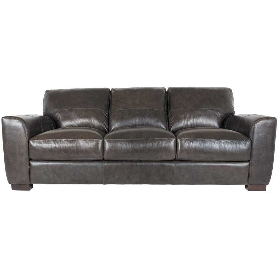 Well Known Caressa Leather Dark Grey Sofa Chairs Within Dark Grey Italian All Leather Sofa 1P 4849S (View 19 of 20)