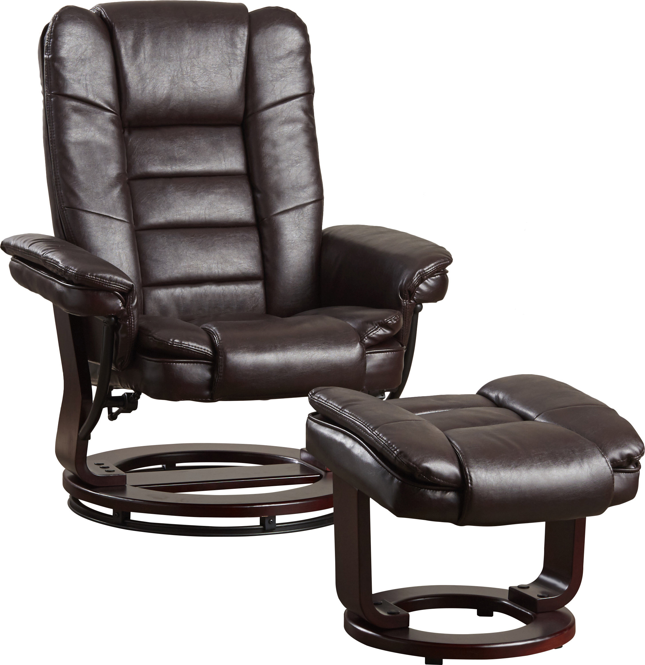 Well Known Dale Iii Polyurethane Swivel Glider Recliners In Alcott Hill Hammersdale Manual Swivel Recliner With Ottoman (View 20 of 20)
