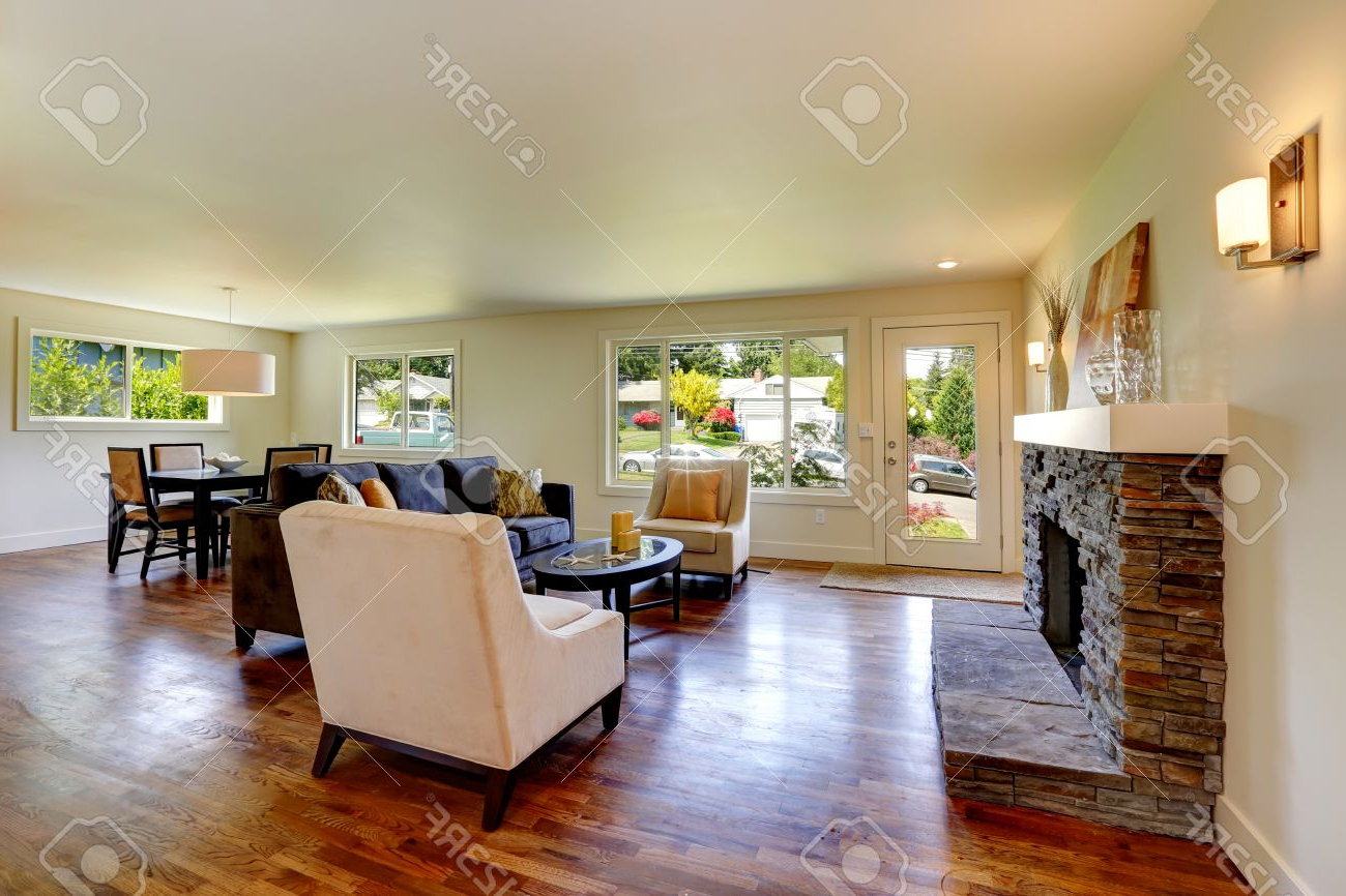 Well Known Dining Table With Sofa Chairs With Regard To Living Room With Stone Background Fireplace, Sofa, Chairs And (View 15 of 20)