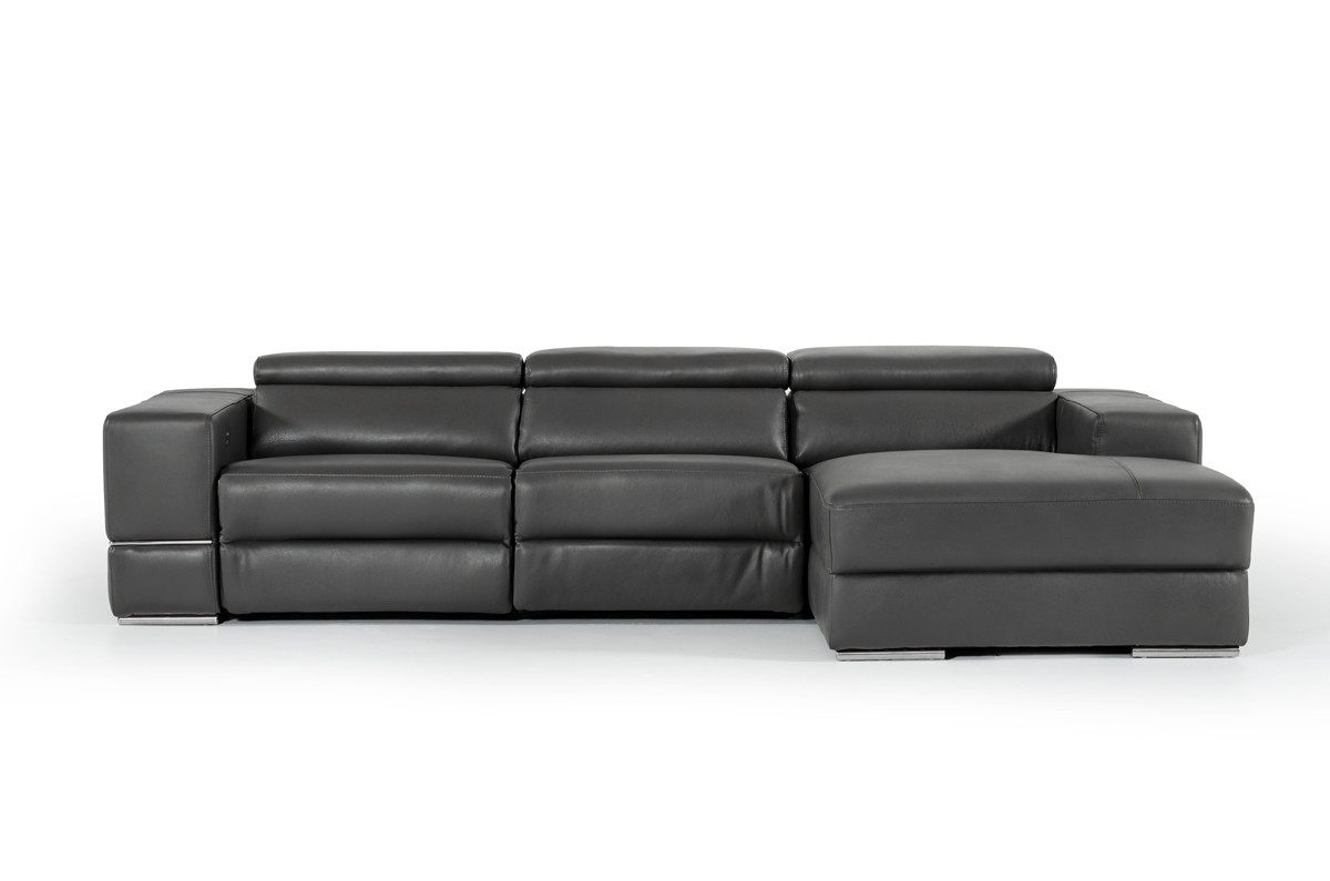 Well Known Divani Casa Hilgard Modern Dark Grey Leather Sectional W/ Recliner Pertaining To Allie Dark Grey Sofa Chairs (View 18 of 20)