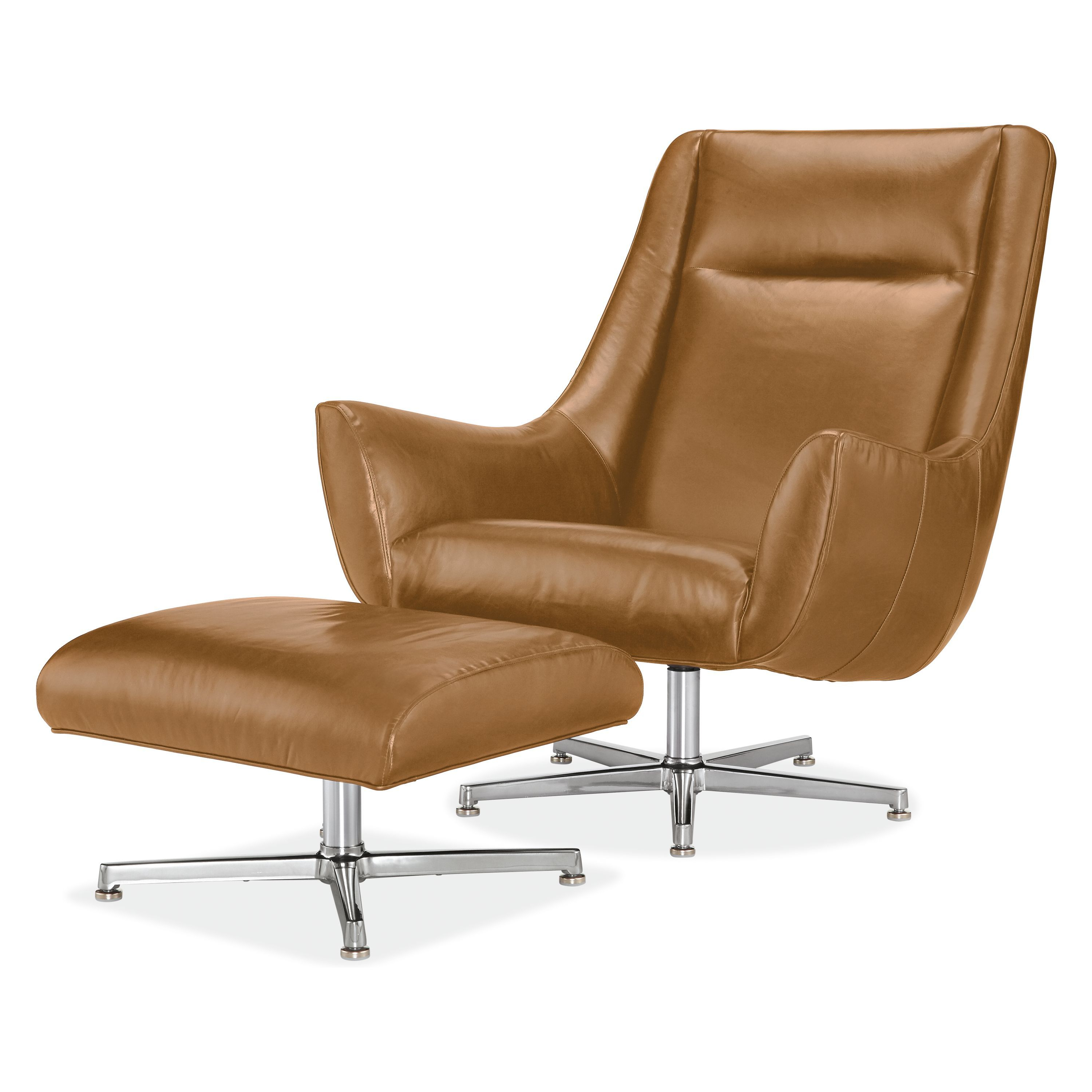 Well Known Espresso Leather Swivel Chairs Regarding Charles Leather Swivel Chair & Ottoman In (View 19 of 20)