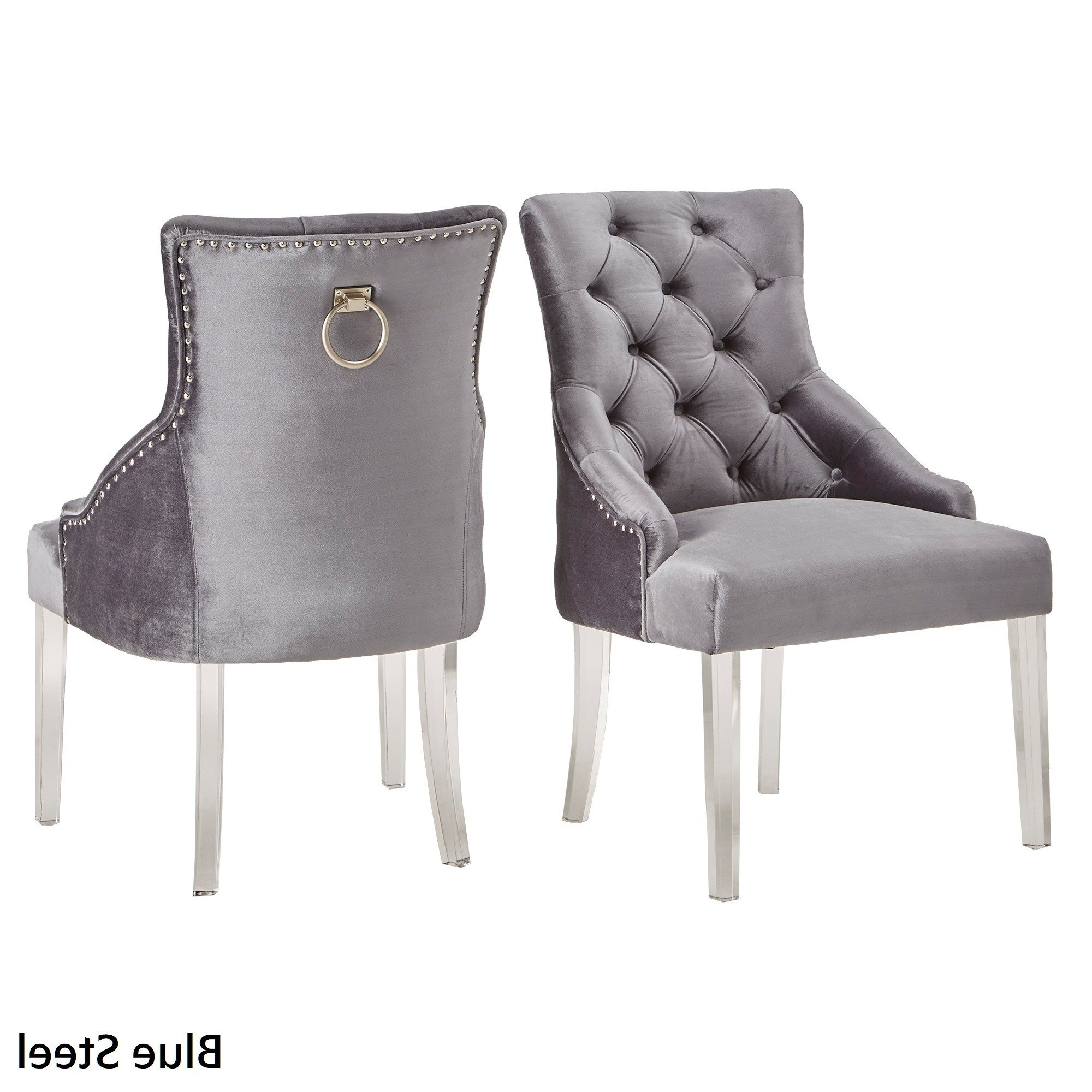 Well Known Gina Blue Leather Sofa Chairs Regarding Shop Gina Velvet Tufted Dining Chair (Set Of 2) With Acrylic Legs (View 20 of 20)
