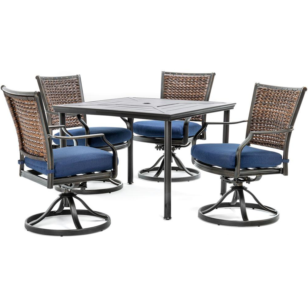 Well Known Hanover Mercer 5 Piece Aluminum Outdoor Dining Set With Navy Blue For Mercer Foam Swivel Chairs (Gallery 16 of 20)