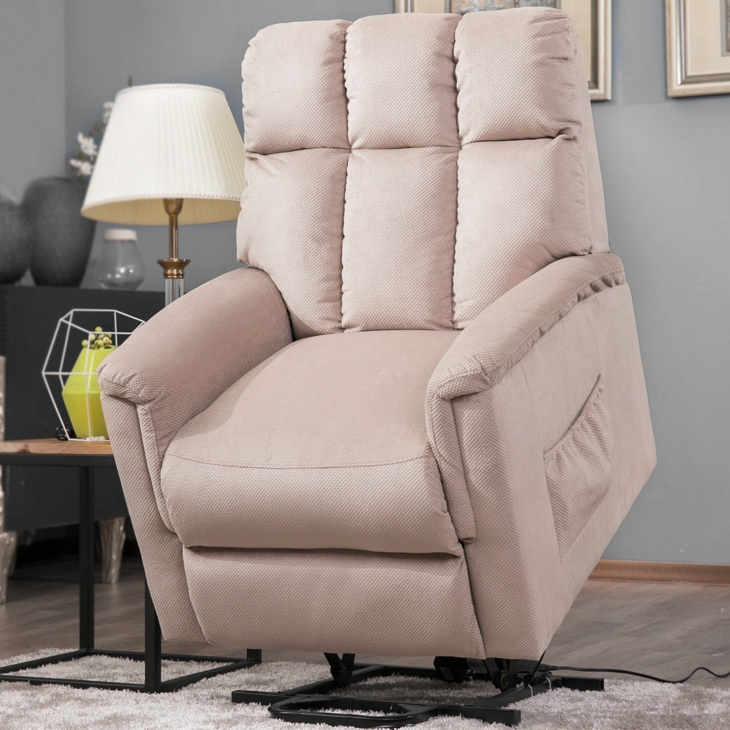 Well Known Harper Down Oversized Sofa Chairs For Shop Harper & Bright Designs Power Lift Chair Soft Fabric Recliner (View 20 of 20)