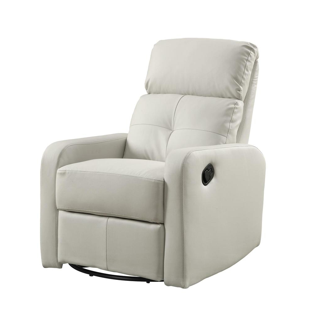 Well Known Hercules Grey Swivel Glider Recliners With Recliner – Swivel Glider / White Bonded Leather (View 19 of 20)