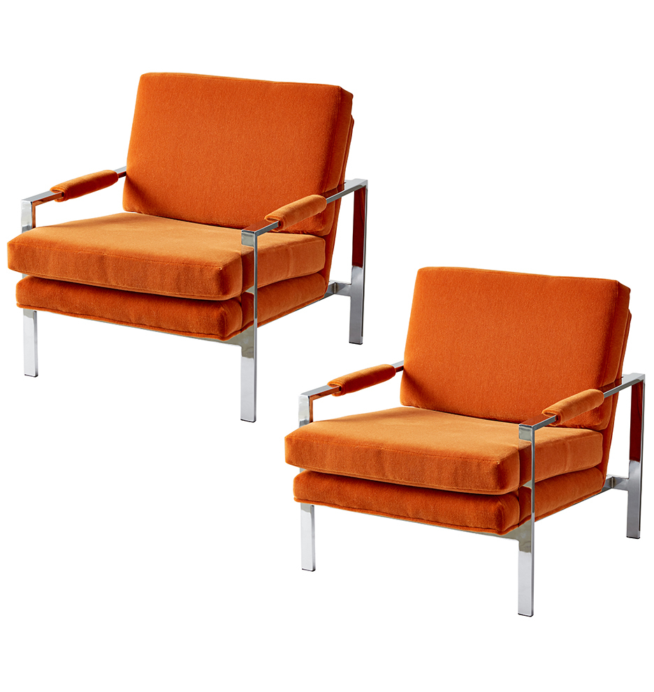 Well Known Pair Of Milo Baughman Style Chrome Lounge Chairs (View 18 of 20)