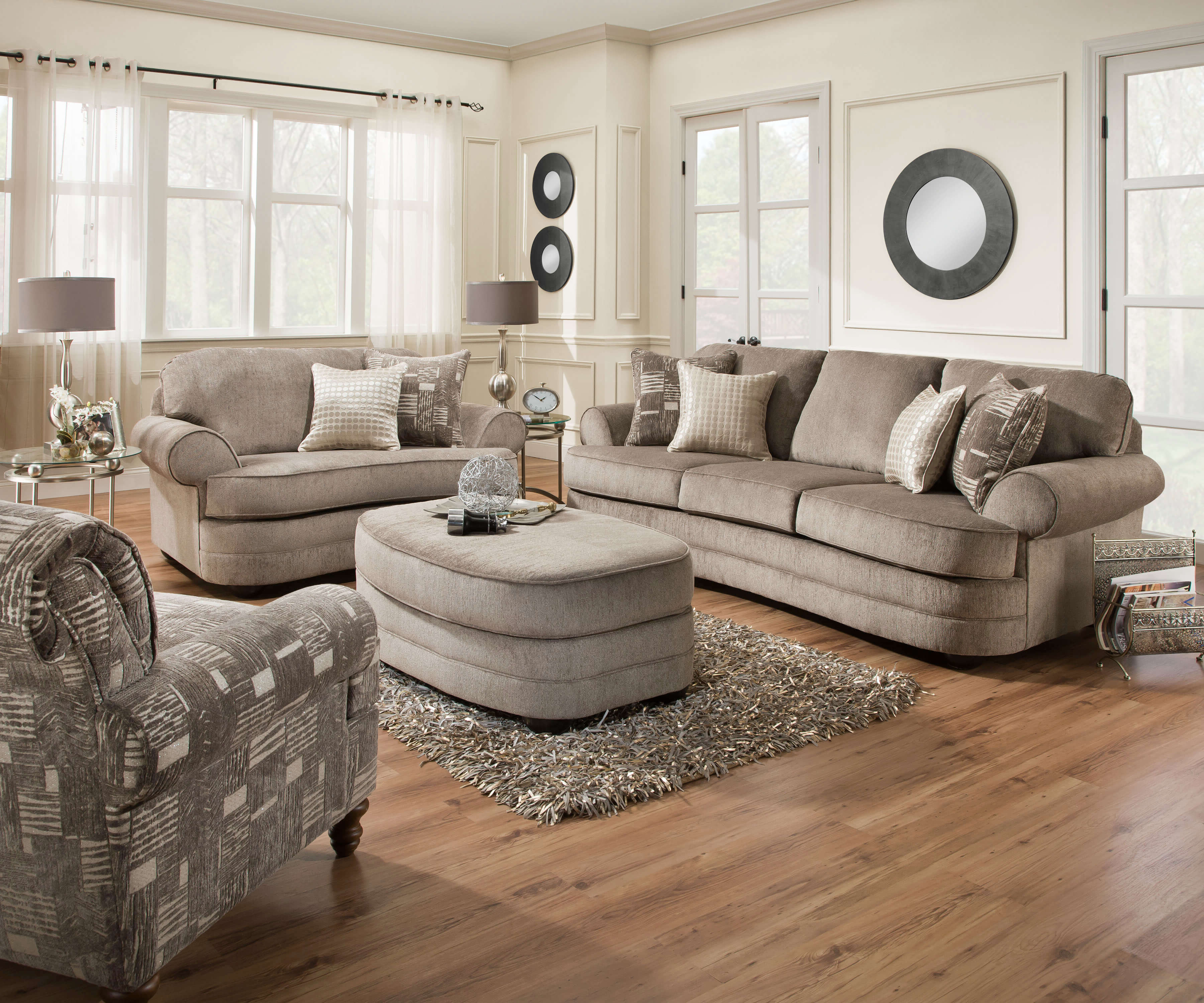 Well Known Sofa And Chair Set Throughout Kingsley Pewter Sofa, Chair 1/2, And Ottoman Setsimmons (View 18 of 20)