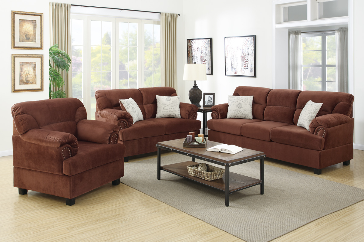 Well Known Sofa Loveseat And Chair Set Regarding Brown Wood Sofa Loveseat And Chair Set – Steal A Sofa Furniture (Gallery 1 of 20)