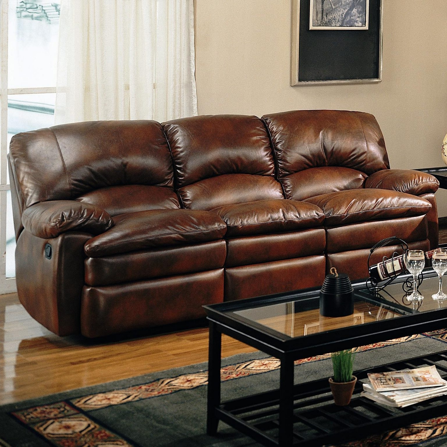 Well Known Walter Leather Sofa Chairs Regarding Walter Recliner Bonded Leather Sofa (Gallery 6 of 20)