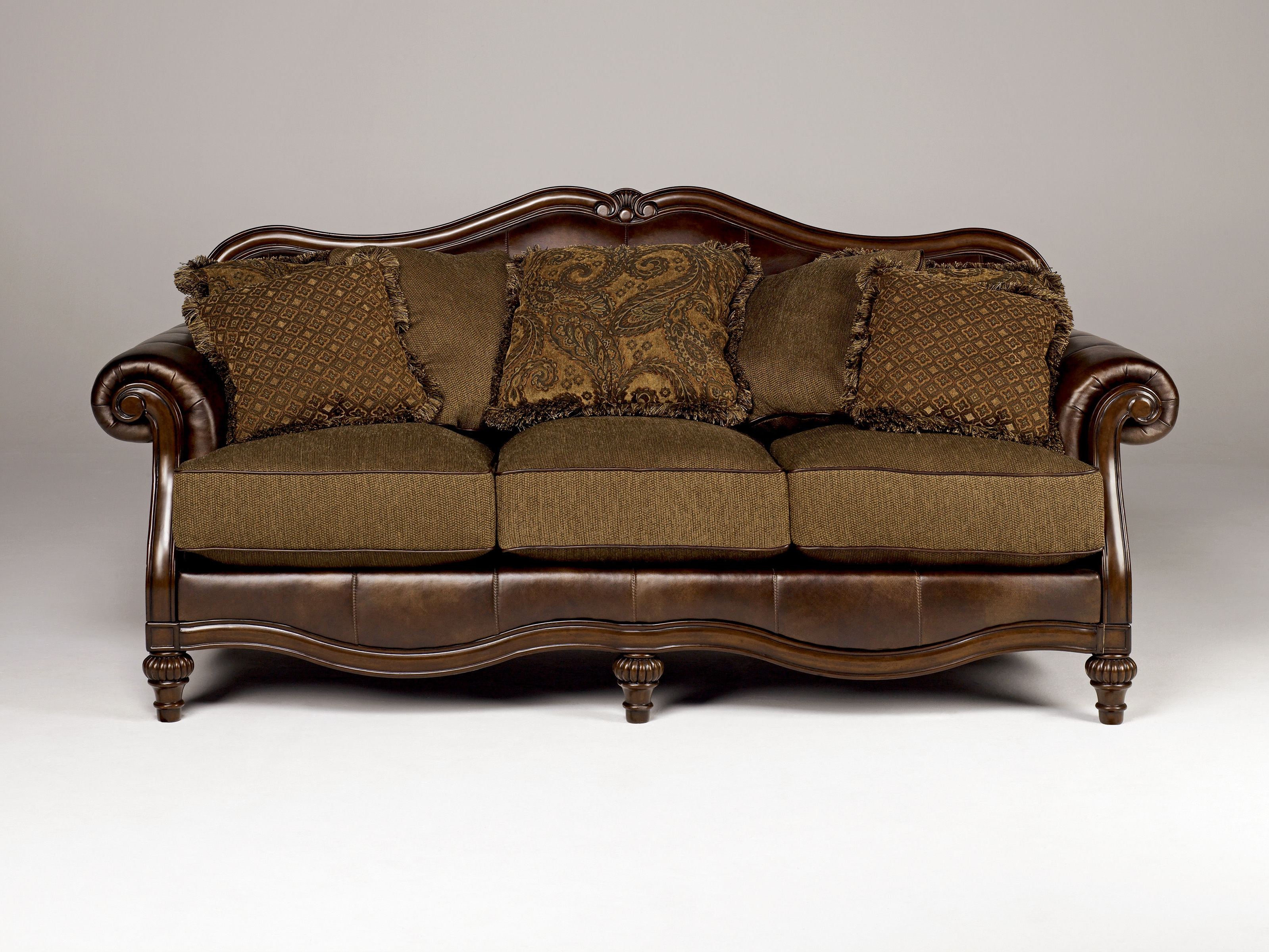 Well Liked Antique Sofa Chairs Throughout Ashley Furniture Claremore Antique Sofa (Gallery 2 of 20)