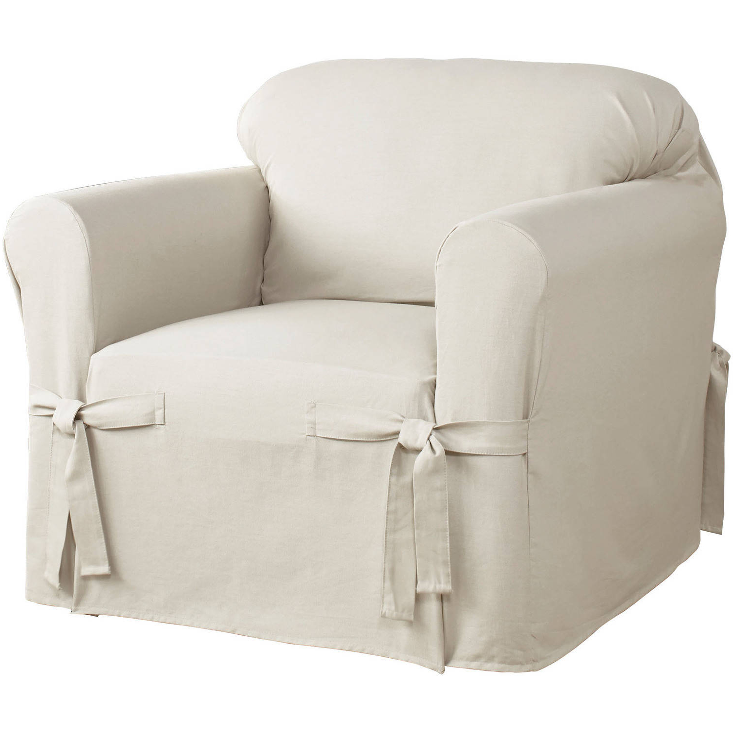 Well Liked Serta Relaxed Fit Cotton Duck Furniture Slipcover, Chair 1 Piece Box Throughout Slipcovers For Chairs And Sofas (View 19 of 20)