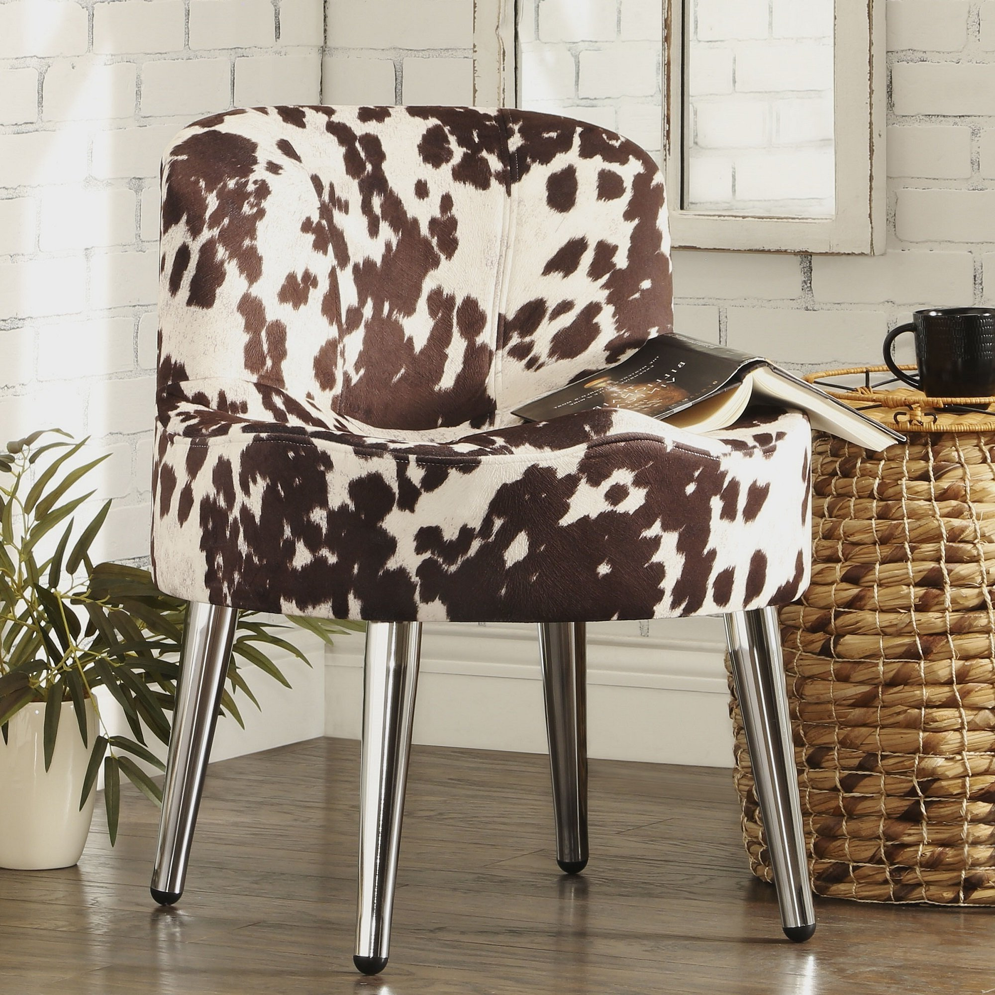 Well Liked Shop Bridgeport Ergonomic Cow Print Accent Chair – Free Shipping For Circuit Swivel Accent Chairs (Gallery 19 of 20)