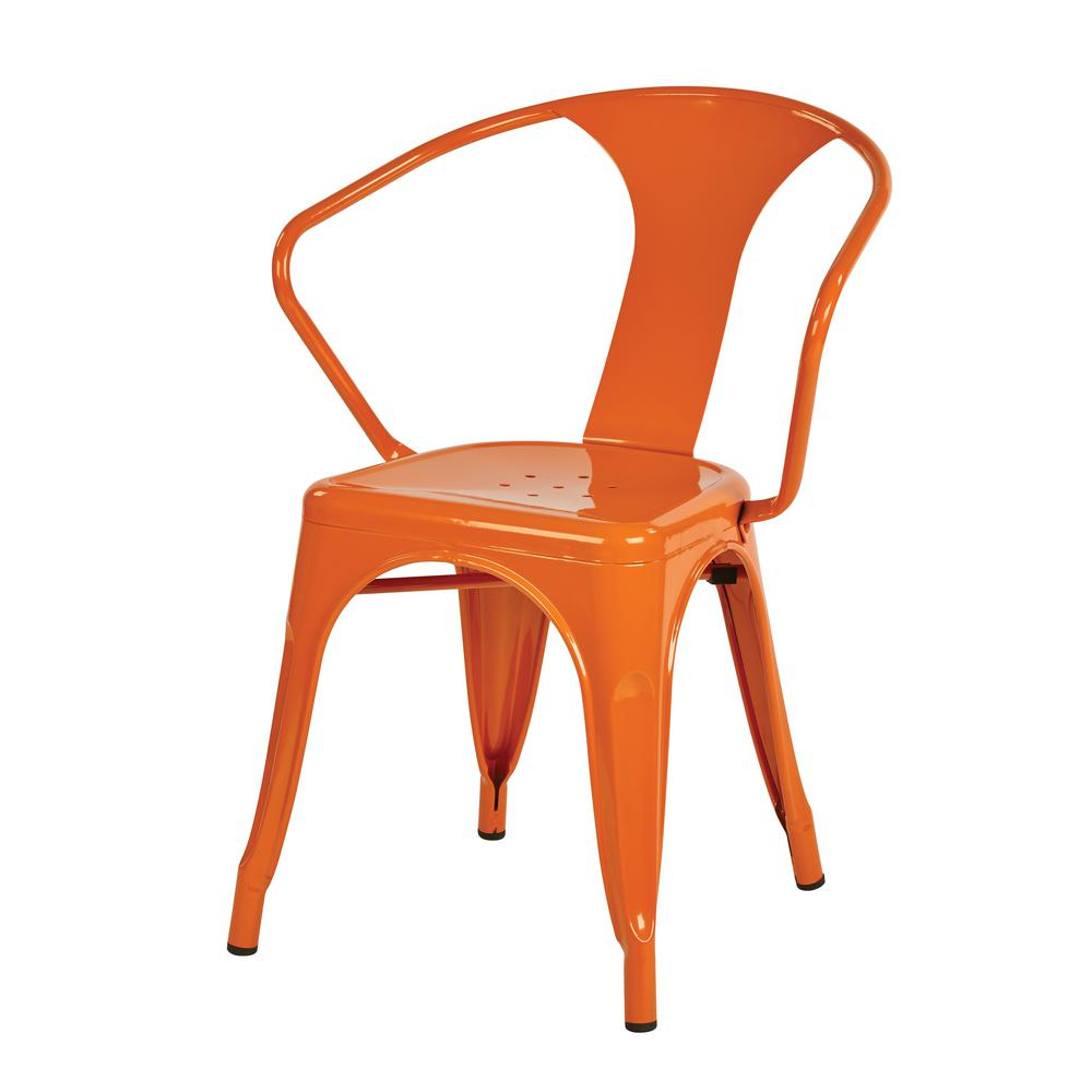 Well Liked Work Smart Patterson Orange Metal Chair (2 Pack), Orange Powder Intended For Patterson Ii Arm Sofa Chairs (View 20 of 20)