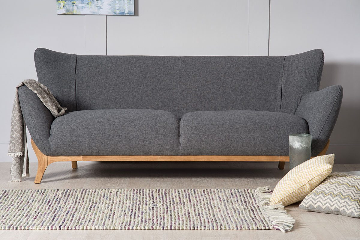 Wesley Dark Grey Three Seater Large Sofa (View 6 of 20)