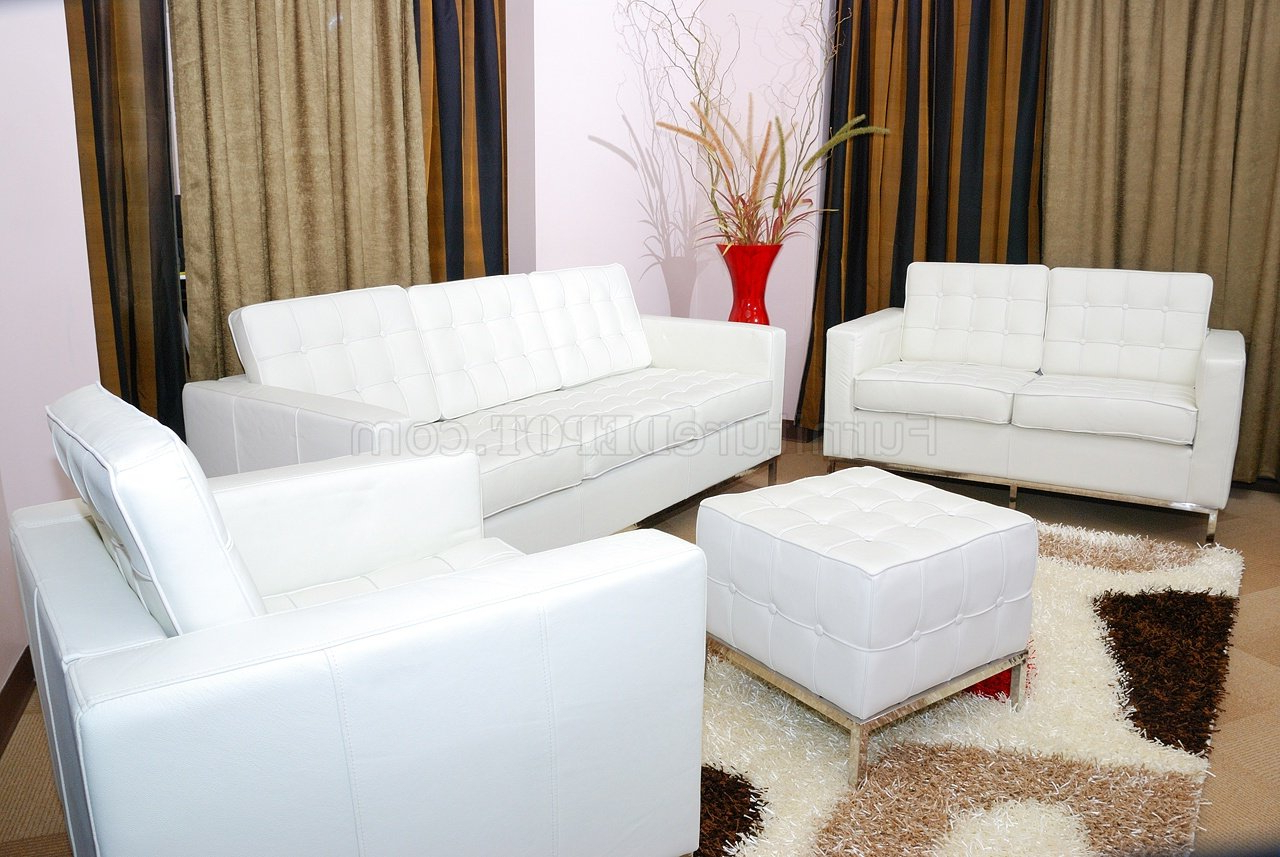 White Button Tufted Full Leather Sofa, Chair & Ottoman Set With Regard To Famous Sofa Chair With Ottoman (View 20 of 20)