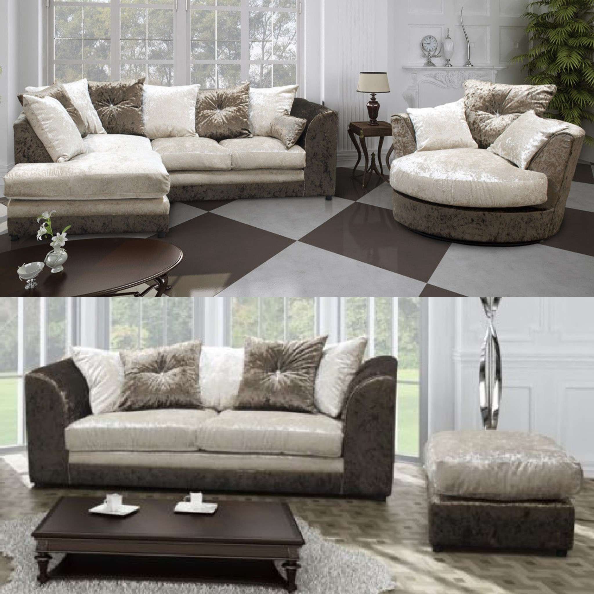 Widely Used Corner Sofa And Swivel Chairs Regarding Carlton Velvet Corner Sofa Set – Sofastorm (Gallery 8 of 20)