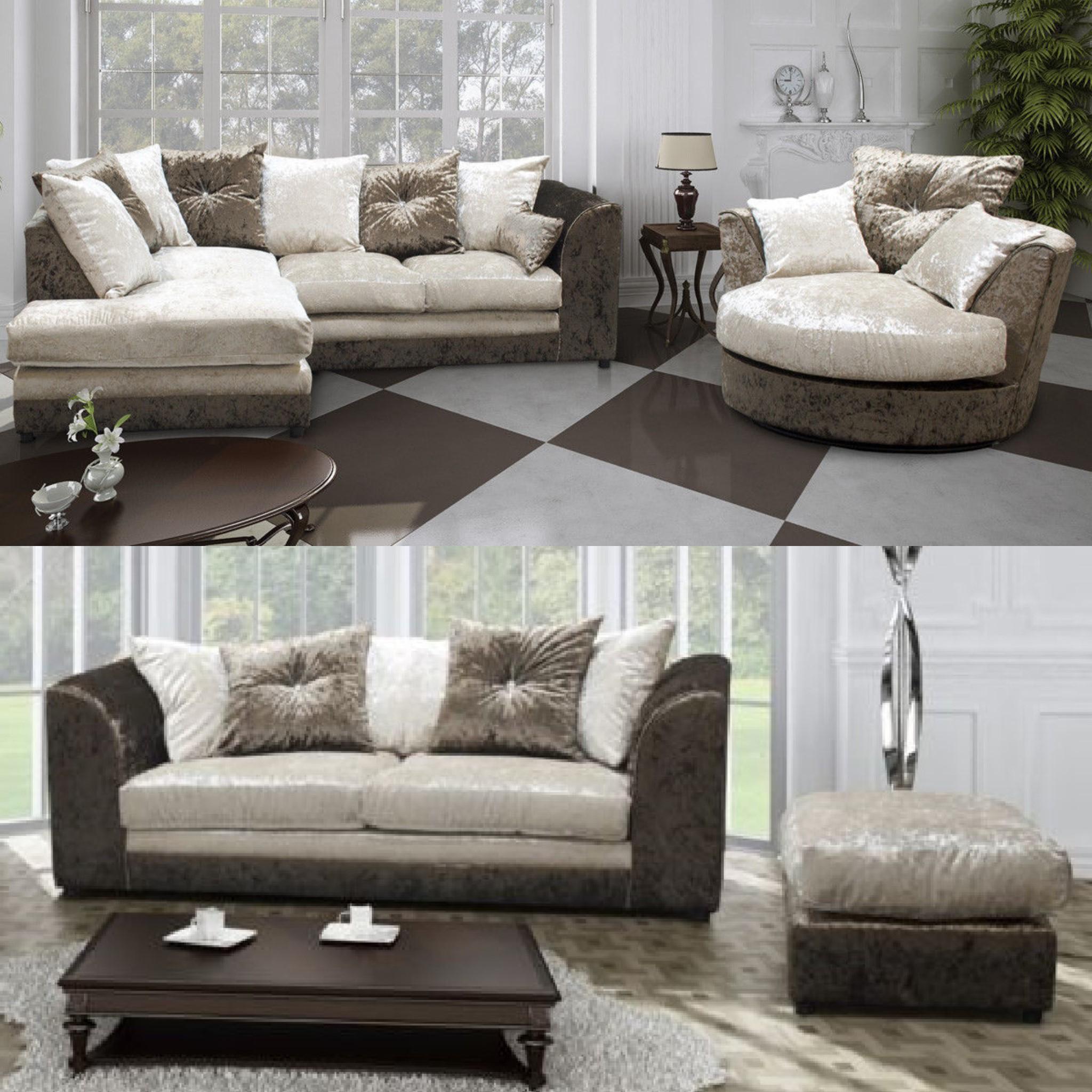 Widely Used Corner Sofa And Swivel Chairs Regarding Carlton Velvet Corner Sofa Set – Sofastorm (View 8 of 20)