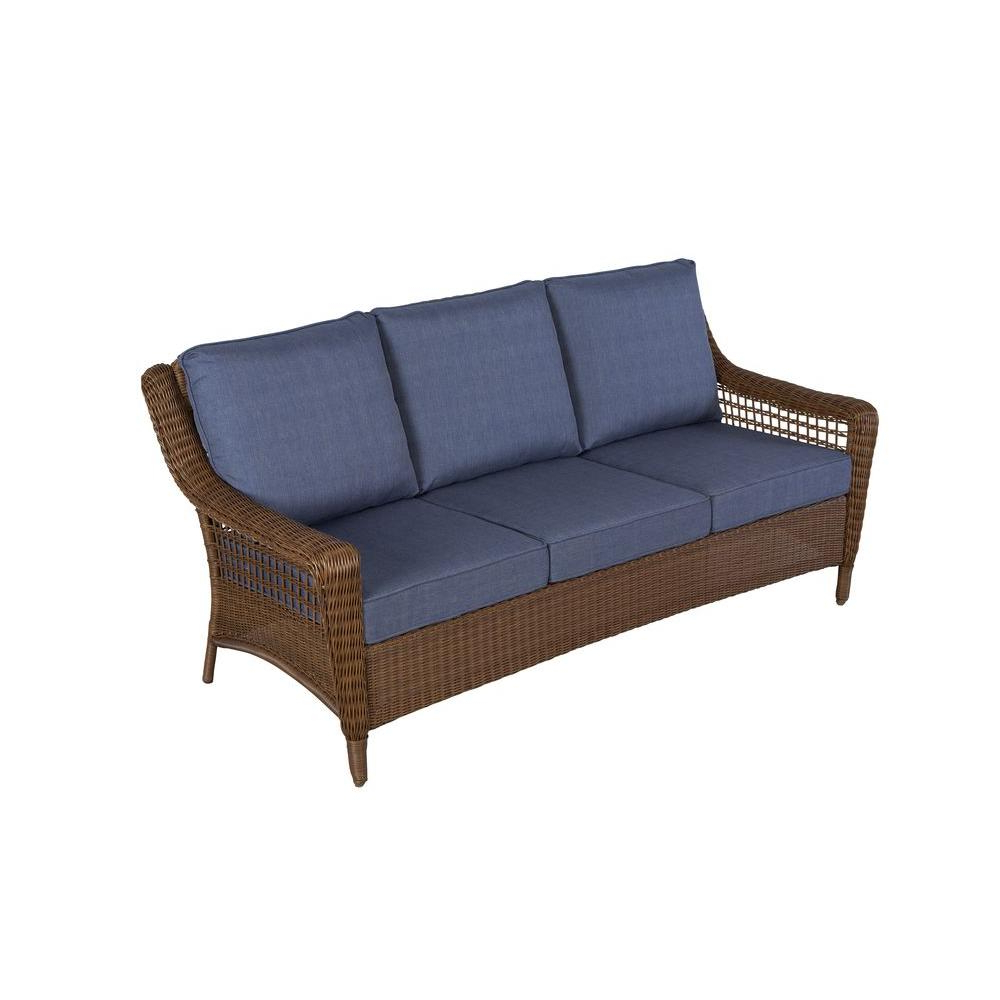 Widely Used Haven Sofa Chairs Intended For Hampton Bay Spring Haven Brown All Weather Wicker Outdoor Patio Sofa (View 16 of 20)