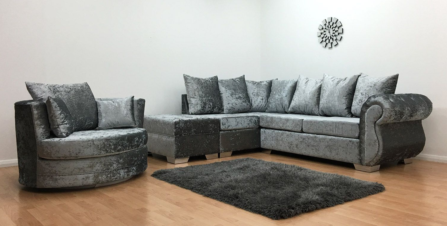 Windsor One Arm Corner Sofa + Swivel Chair + Footstool Within Latest Sofa With Swivel Chair (Gallery 7 of 20)