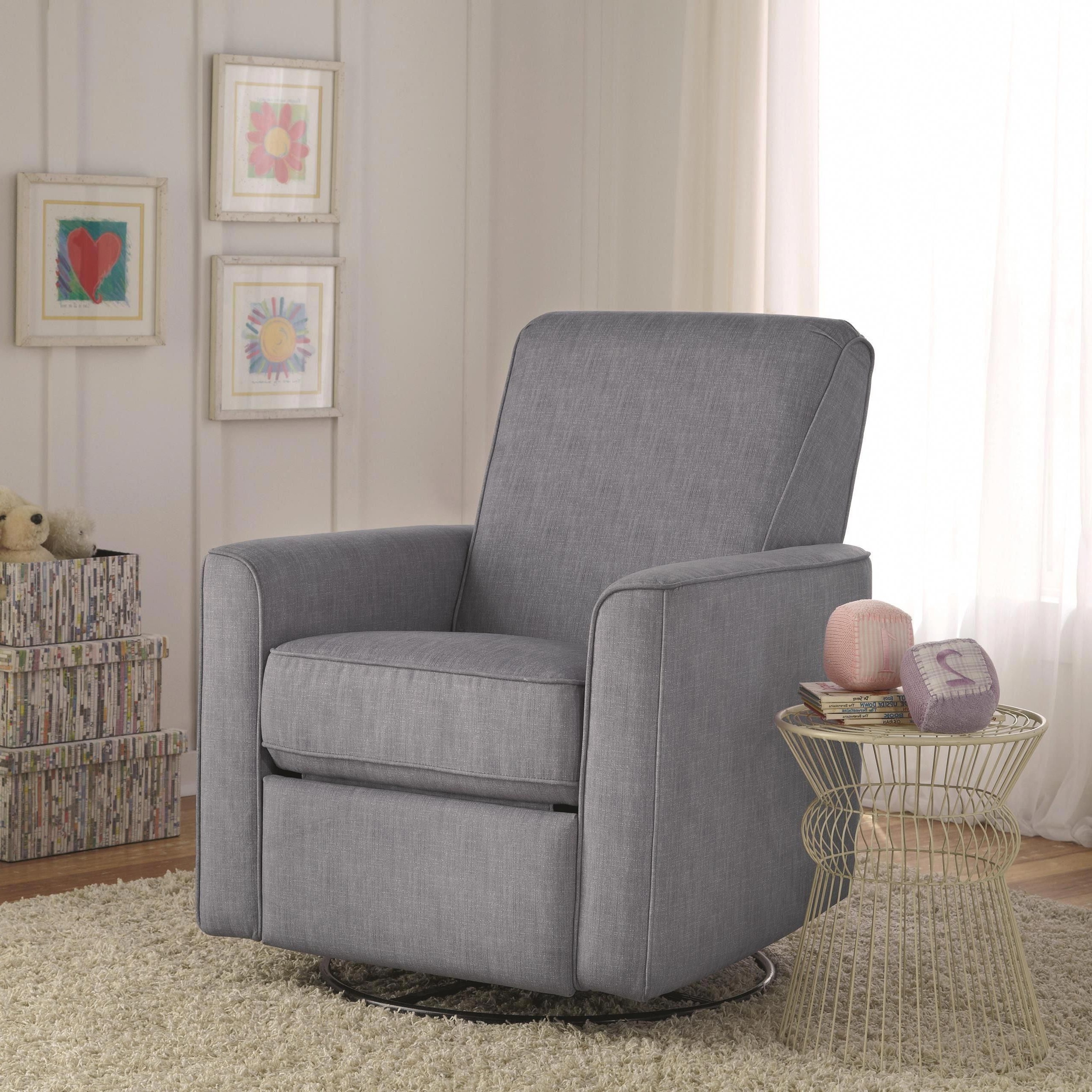 Zoey Grey Nursery Swivel Glider Recliner Chair Is Handcrafted Using In 2018 Decker Ii Fabric Swivel Glider Recliners (Gallery 6 of 20)