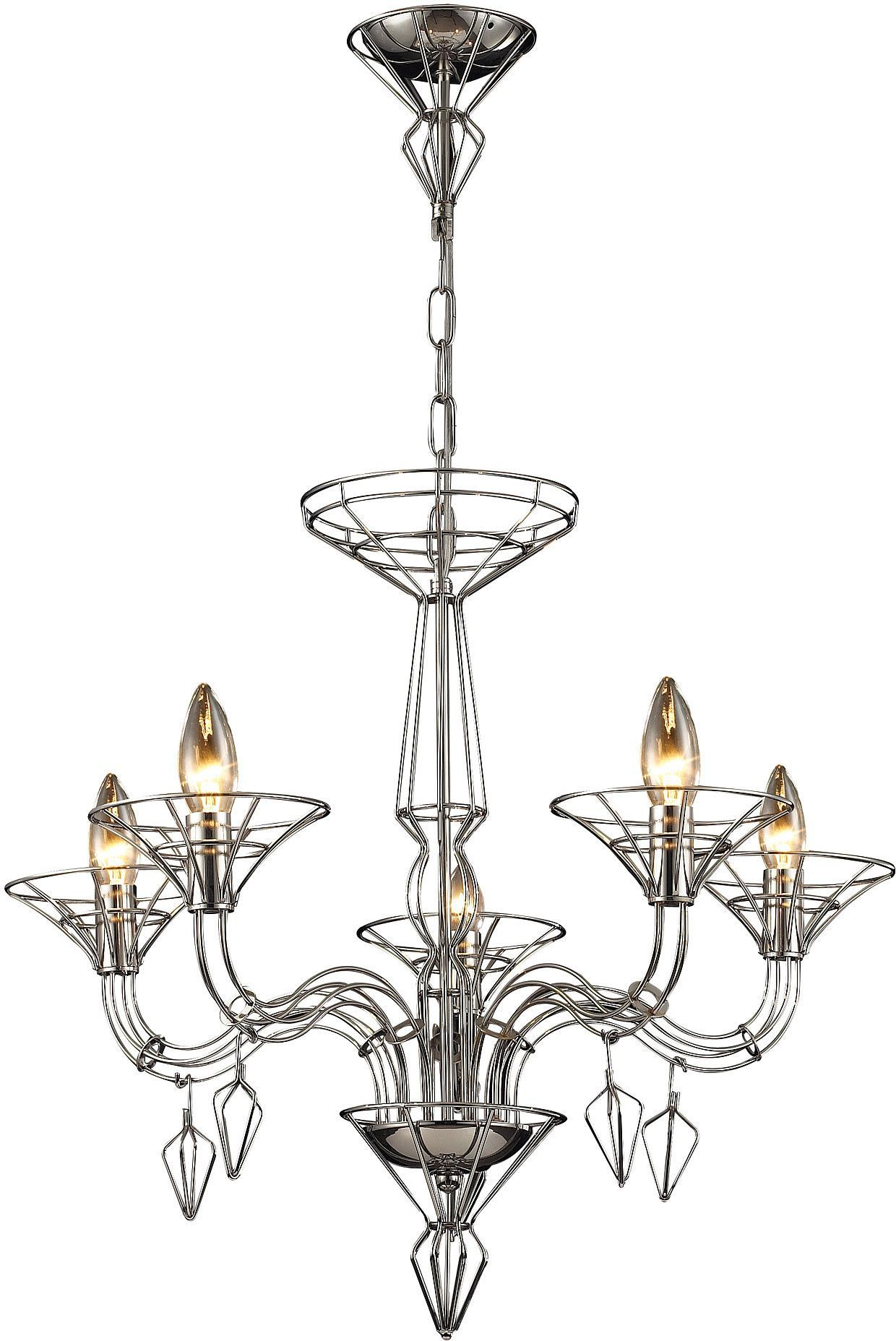 "0 016797>26""""w Couture 5 Light Chandelier Satin Nickel With With Well Known Hesse 5 Light Candle Style Chandeliers (Gallery 13 of 20)"