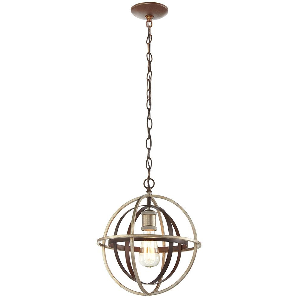 1 Light Bronze And Champagne Pewter Orb Mini Pendant For Favorite Dirksen 3 Light Single Cylinder Chandeliers (View 1 of 20)