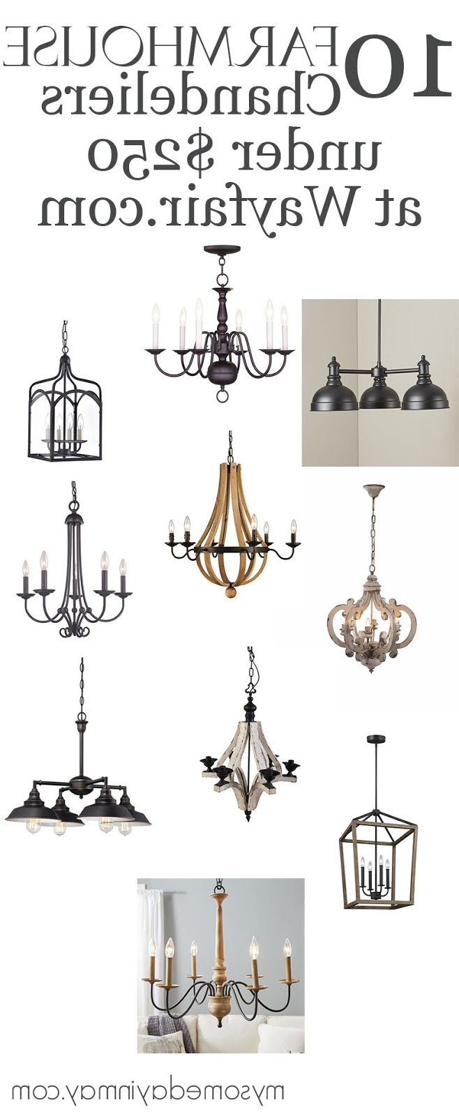 10 Farmhouse Chandeliers Under $250 – My Someday In May With Most Recent Alayna 4 Light Shaded Chandeliers (View 1 of 20)