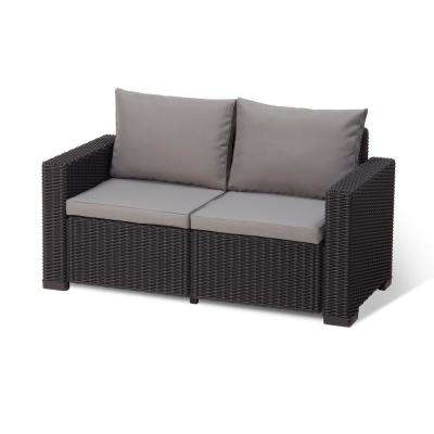 2019 California Graphite Plastic Wicker Outdoor Loveseat With Cool Grey Cushions Intended For Wicker Loveseats (View 1 of 20)