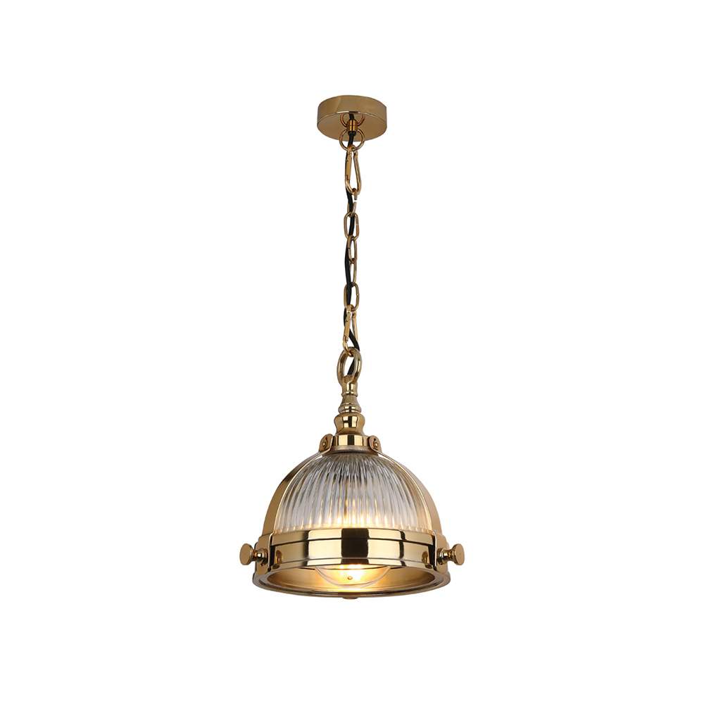 2019 Dar Ryk0135 Ryker 1 Light Brass & Ribbed Glass Pendant Intended For Ryker 1 Light Single Dome Pendants (View 10 of 20)