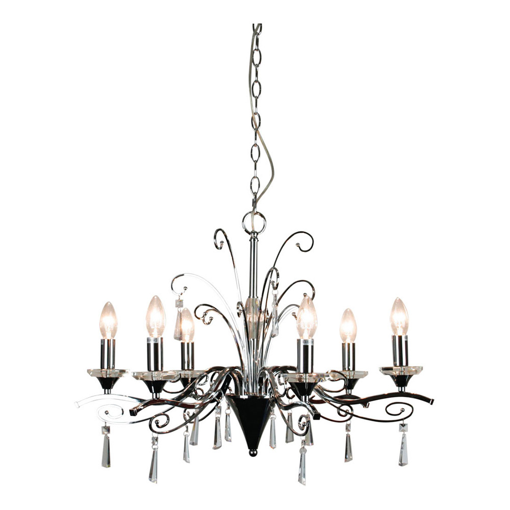 2019 Diaz 6 Light Candle Style Chandeliers With Diaz 6 Light Crystal Pendant Chrome – Ol68999/6Ch (View 1 of 20)