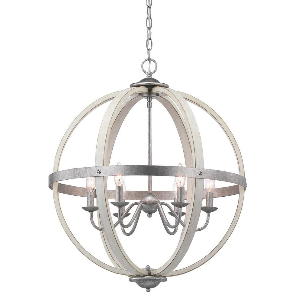 2019 Donna 6 Light Globe Chandeliers Intended For Progress Lighting Keowee 6 Light Galvanized Orb Chandelier (View 16 of 20)